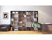 Bibliothèque - Hêtre, design, étagère pour livres, sophistiquée, ouverte et fonctionelle - 267 x 195 x 35 cm, personnalisable