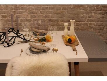 Table à manger - Blanc, design scandinave, pour salle à manger ou cuisine nordique, table extensible à rallonge - 250 x 75 x 90 cm