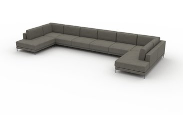 Canapé - Gris gravier, modèle épuré, canapé pour salon, en tissu avec pieds personnalisables - 508 x 75 x 214 cm, modulable