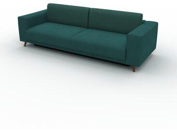Canapé convertible Velours - Vert Océan, design épuré, canapé lit confortable, confortable avec coffre de rangement - 248 x 75 x 98 cm, modulable