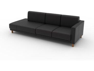 Canapé en cuir - Noir Cuir Aniline, lounge, esprit club ou cosy avec toucher chaleureux, 252x 75 x 98 cm, modulable