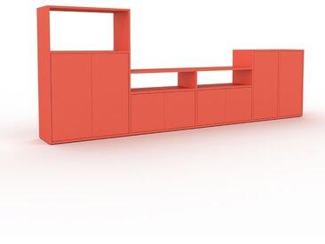 Bibliothèque murale - Rouge, modèle moderne, étagère, avec porte Rouge - 303 x 118 x 35 cm, modulable