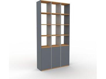 Bibliothèque - Anthracite, pièce de caractère, rangements raffiné, avec porte Anthracite - 118 x 233 x 35 cm, configurable