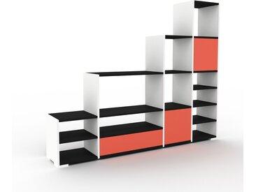 Système d'étagère - Blanc, design, rangements, avec porte Rouge et tiroir Rouge - 193 x 158 x 35 cm