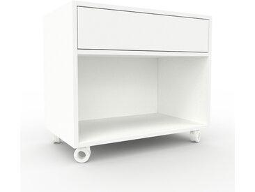 Caisson à roulette - Blanc, pièce modulable, rangement mobile, avec tiroir Blanc - 77 x 68 x 47 cm