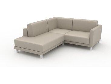 Canapé en cuir - Blanc crème Cuir Végan, lounge, esprit club ou cosy avec toucher chaleureux, 186x 75 x 214 cm, modulable