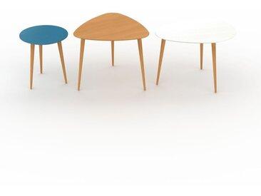 Tables basses gigognes - Blanc, ronde/triangulaire/ovale, design scandinave, set de 3 tables basses - 40/59/67 x 44/50/47 x 40/61/50 cm