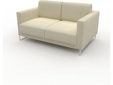 Canapé en cuir - Blanc crème Cuir Végan, lounge, esprit club ou cosy avec toucher chaleureux, 144x 75 x 98 cm, modulable
