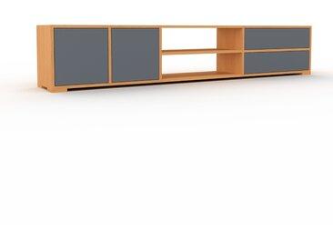 Meuble TV - Hêtre, design, meuble hifi, multimedia, avec porte Anthracite et tiroir Anthracite - 229 x 43 x 35 cm