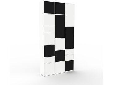 Buffet - Blanc, moderne, avec porte Noir et tiroir Blanc - 118 x 234 x 35 cm