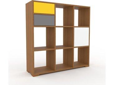 Range CD - Chêne, design, meuble pour vinyles, DVD, avec porte Blanc et tiroir Jaune - 118 x 120 x 35 cm