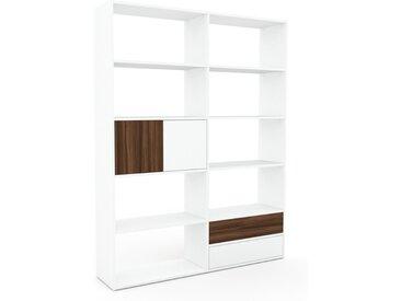 Bibliothèque - Blanc, design contemporain, avec porte Noyer et tiroir Blanc - 152 x 195 x 35 cm
