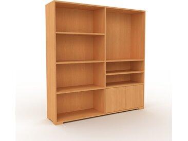 Bibliothèque - Hêtre, pièce de caractère, rangements raffiné, avec porte Hêtre - 152 x 158 x 35 cm, configurable