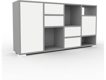 Enfilade - Gris, design, buffet, avec porte Blanc et tiroir Blanc - 156 x 81 x 35 cm