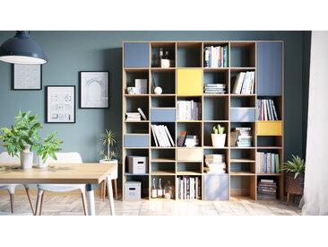Bibliothèque - Hêtre, design contemporain, avec porte Gris et tiroir Gris - 233 x 234 x 35 cm