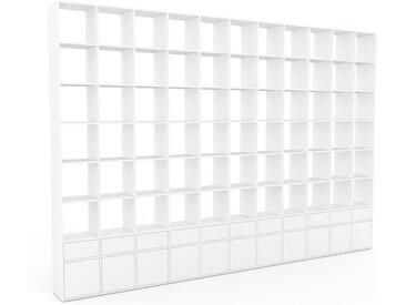 Bibliothèque - Blanc, design contemporain, avec porte Blanc et tiroir Blanc - 426 x 291 x 35 cm