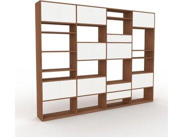 Placard - Noyer, moderne, rangements, avec porte Blanc et tiroir Blanc - 301 x 233 x 35 cm