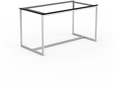 Table basse en Verre fumé transparent, design industriel, bout de canapé raffiné - 81 x 46 x 42 cm, personnalisable