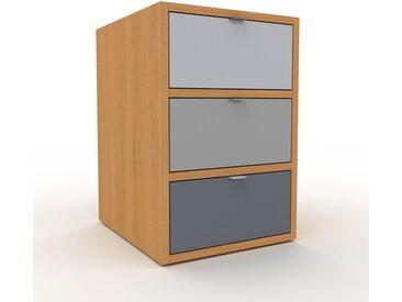 Table de chevet - Chêne, contemporaine, table de nuit, avec tiroir Anthracite - 41 x 61 x 47 cm, modulable