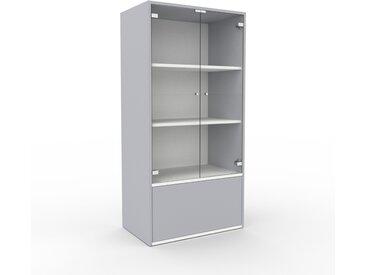 Vitrine - Verre clair transparent, design, pour documents, avec porte Verre clair transparent et tiroir Gris clair - 77 x 157 x 47 cm