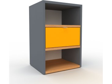 Table de chevet - Anthracite, contemporaine, table de nuit, avec tiroir Jaune - 41 x 61 x 35 cm, modulable