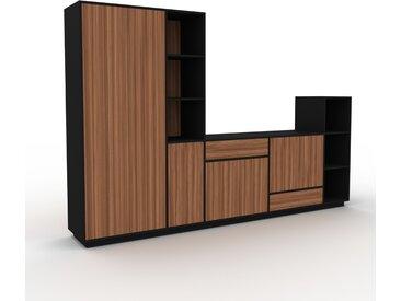 Meuble TV - Noyer, design, meuble hifi, multimedia, avec porte Noyer et tiroir Noyer - 303 x 200 x 47 cm
