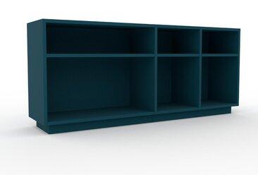 Bibliothèque - Bleu pétrole, design, étagère pour livres, sophistiquée, ouverte et fonctionelle - 154 x 66 x 35 cm, personnalisable