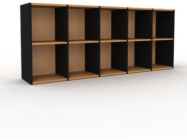 Placard - Noir, design, rangements solide, de qualité, pratique - 195 x 80 x 35 cm, modulable