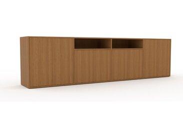 Buffet bas - Chêne, pièce de caractère, rangements bas de luxe, avec porte Chêne - 301 x 80 x 47 cm, personnalisable