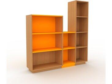 Range CD en chêne, bois certifié, aspect intemporel, meuble pour vinyles, DVD de qualité - 154 x 162 x 35 cm, modulable