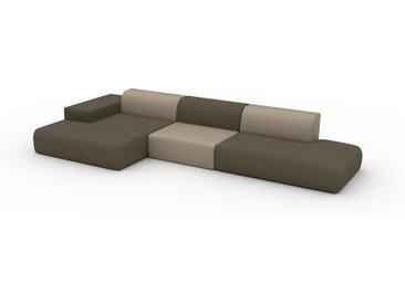 Canapé en cuir - Beige taupe/Vert olive Cuir Pigmenté, lounge, esprit club ou cosy avec toucher chaleureux - 410 x 72 x 168 cm, modulable