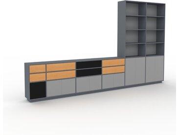 Système d'étagère - Anthracite, design, rangements, avec porte Gris et tiroir Hêtre - 414 x 239 x 35 cm