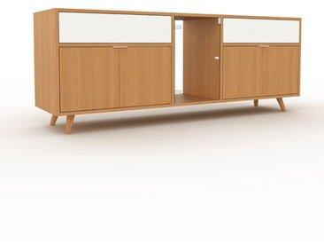 Vitrine - Chêne, design, pour documents, avec porte Chêne et tiroir Blanc - 190 x 72 x 47 cm