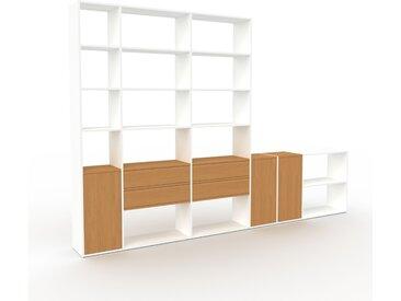 Système d'étagère - Blanc, design, rangements, avec porte Chêne et tiroir Chêne - 342 x 233 x 35 cm