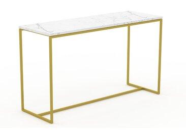 Table basse en marbre Blanc Carrara avec des jambes dorées, design contemporain, bout de canapé luxueux et sophistiqué - 121 x 71 x 42 cm, personnalisable
