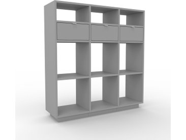 Bibliothèque - Gris, modèle tendance, rangements pour livres, avec tiroir Gris - 118 x 124 x 35 cm, modulable