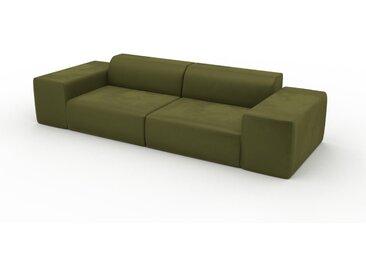 Canapé convertible Velours - Vert Olive, design arrondi, canapé lit confortable, moelleux et lit confortable - 294 x 72 x 107 cm, modulable