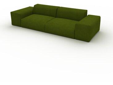 Canapé convertible Velours - Vert Olive, design arrondi, canapé lit confortable, moelleux et lit confortable - 296 x 72 x 107 cm, modulable