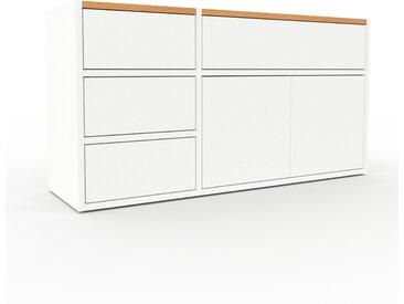 Commode - Blanc, moderne, raffinée, avec porte Blanc et tiroir Blanc - 116 x 61 x 35 cm