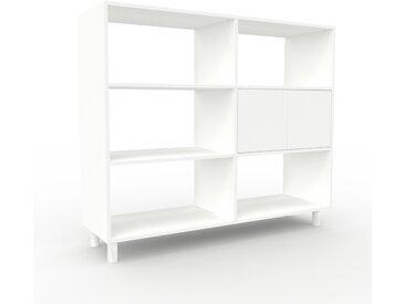 Range CD - blanc, contemporain, meuble pour vinyles, DVD, avec porte blanc - 152 x 130 x 47 cm, modulable