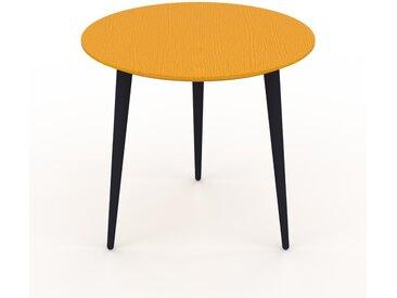 Table basse - Jaune, ronde, design scandinave, petite table pour salon élégante - 50 x 47 x 50 cm, personnalisable