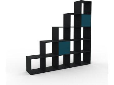 Système d'étagère - Noir, modulable, rangements, avec porte Bleu pétrole - 195 x 195 x 35 cm