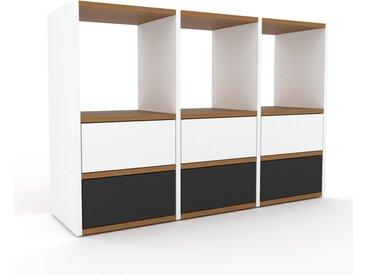 Commode - Blanc, pièce de caractère, sophistiquée, avec tiroir Graphite - 118 x 80 x 35 cm, personnalisable