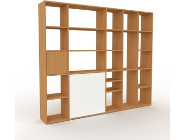 Bibliothèque - Chêne, pièce de caractère, rangements raffiné, avec porte Blanc - 231 x 195 x 35 cm, configurable