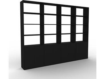 Bibliothèque murale - Noir, modèle moderne, étagère, avec porte Noir - 301 x 233 x 35 cm, modulable