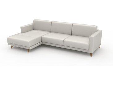 Canapé en cuir - Blanc Cuir Pigmenté, lounge, esprit club ou cosy avec toucher chaleureux, 265x 75 x 162 cm, modulable