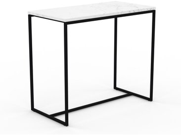 Table basse en marbre Blanc Carrara, design contemporain, bout de canapé luxueux et sophistiqué - 81 x 71 x 42 cm, personnalisable