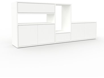 Meuble TV - Blanc, design, meuble hifi, multimedia, avec porte Blanc et tiroir Blanc - 190 x 80 x 35 cm