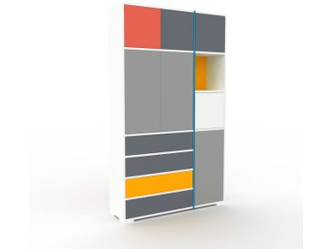 Placard - Blanc, moderne, rangements, avec porte Gris et tiroir Anthracite - 116 x 196 x 35 cm
