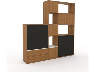 Système d'étagère - Chêne, design, rangements, avec porte Chêne et tiroir Chêne - 190 x 195 x 35 cm